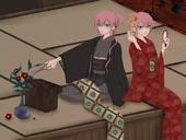 Kayo con el kimono y el obi