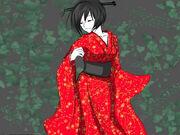 Mujer del kimono rojo