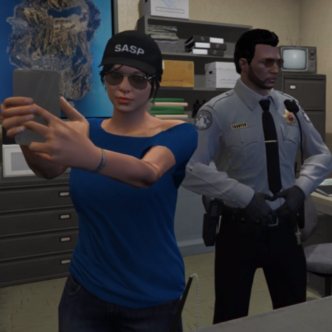 Alice taking a selfie with Cpt. Johnny Dazzler