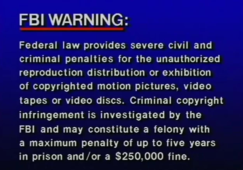 Sony Music Entertainment Warning Screen | The FBI Warning