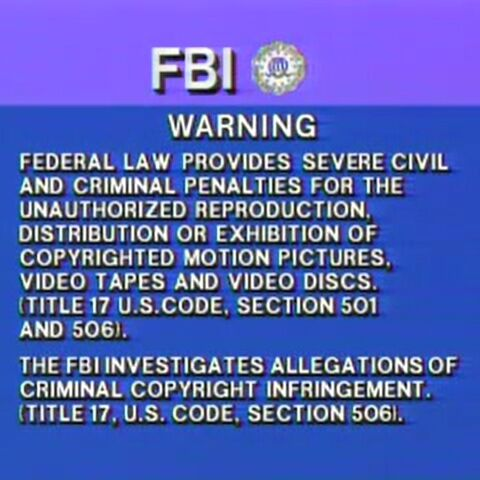 This is the RCA/Columbia/Columbia TriStar Warning Screen from 1984, especially with the FBI seal.