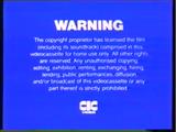 CIC Video Warning Screen