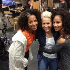 Director Milicent (left), a woman (center), Sherri (right)