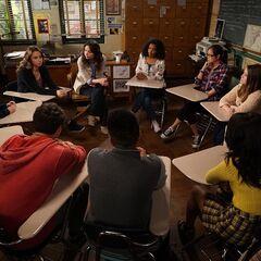 Inside a classroom.