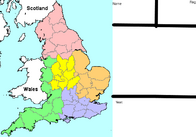 Map of England counties without names