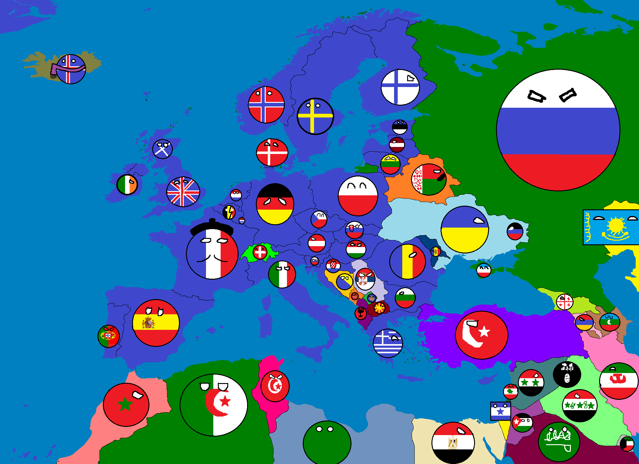 Image Map of Europe in Countryballs