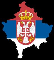 Kosovo with flag of Serbia