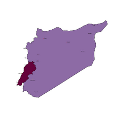 Map of Syria and Lebanon with Major Cities