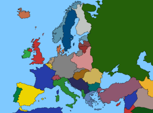 Map of Europe 1939