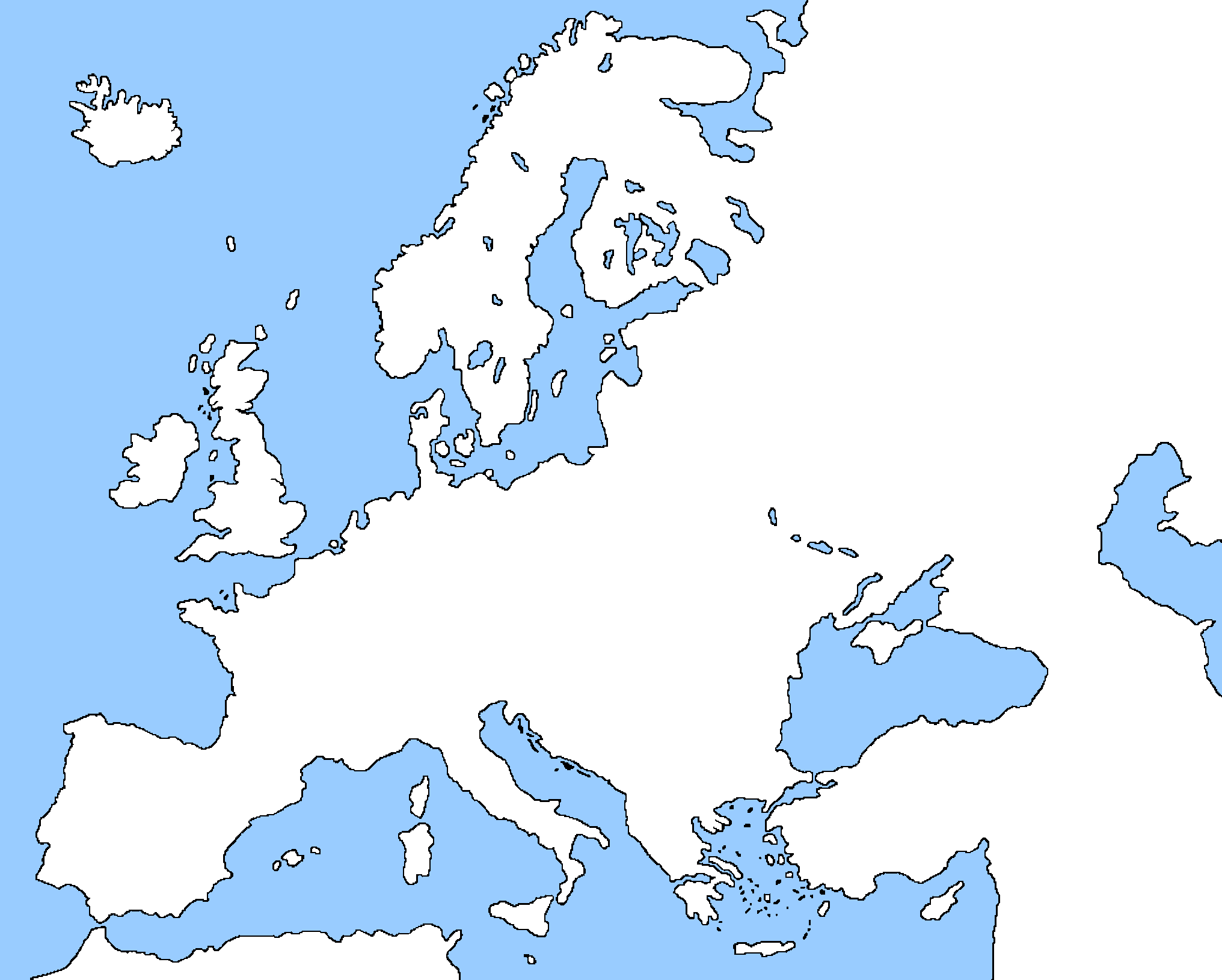 Image   Blank map of Europe without borders by eric4e.png