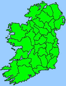 Map of Ireland with counties