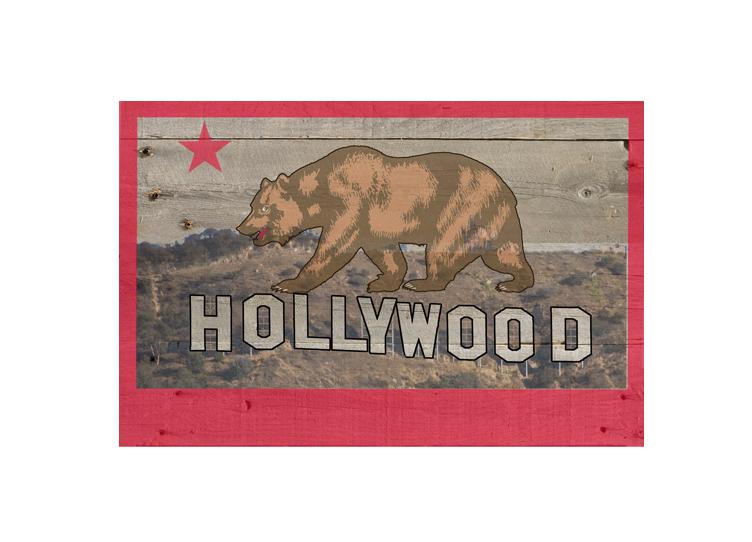 California Flag With Bear On Hollywood Sign Gray
