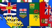 Flag map of western canada