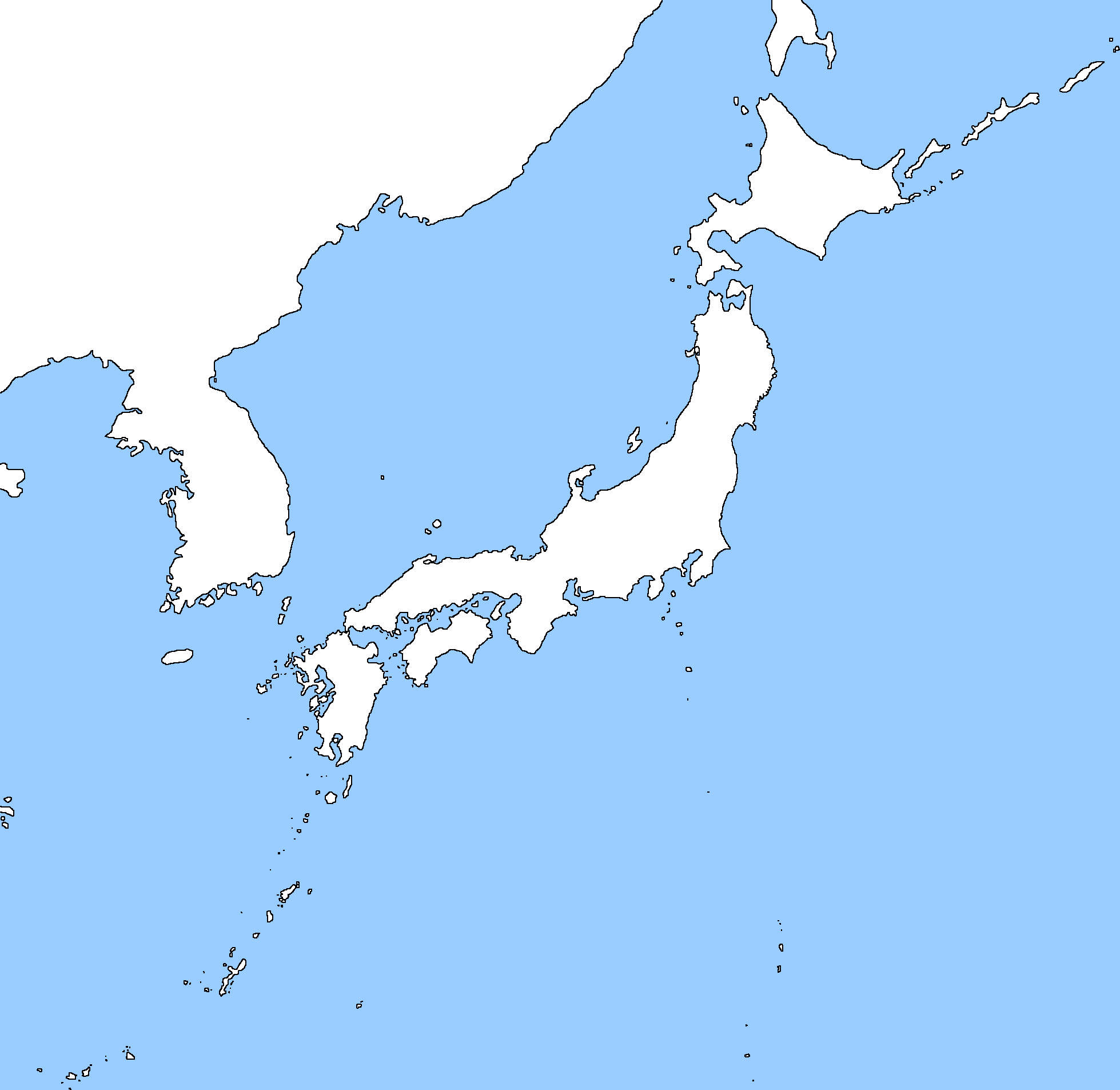 Image   Blank map of Japan and Korea.png | TheFutureOfEuropes Wiki