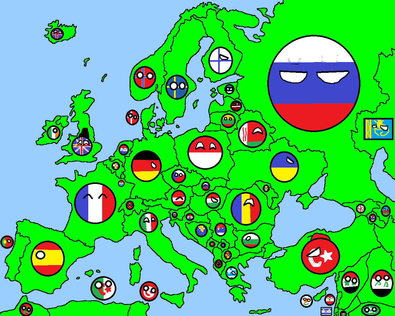 Green Map Of Europe.Image Map Of Europe In Countryballs Png Thefutureofeuropes Wiki