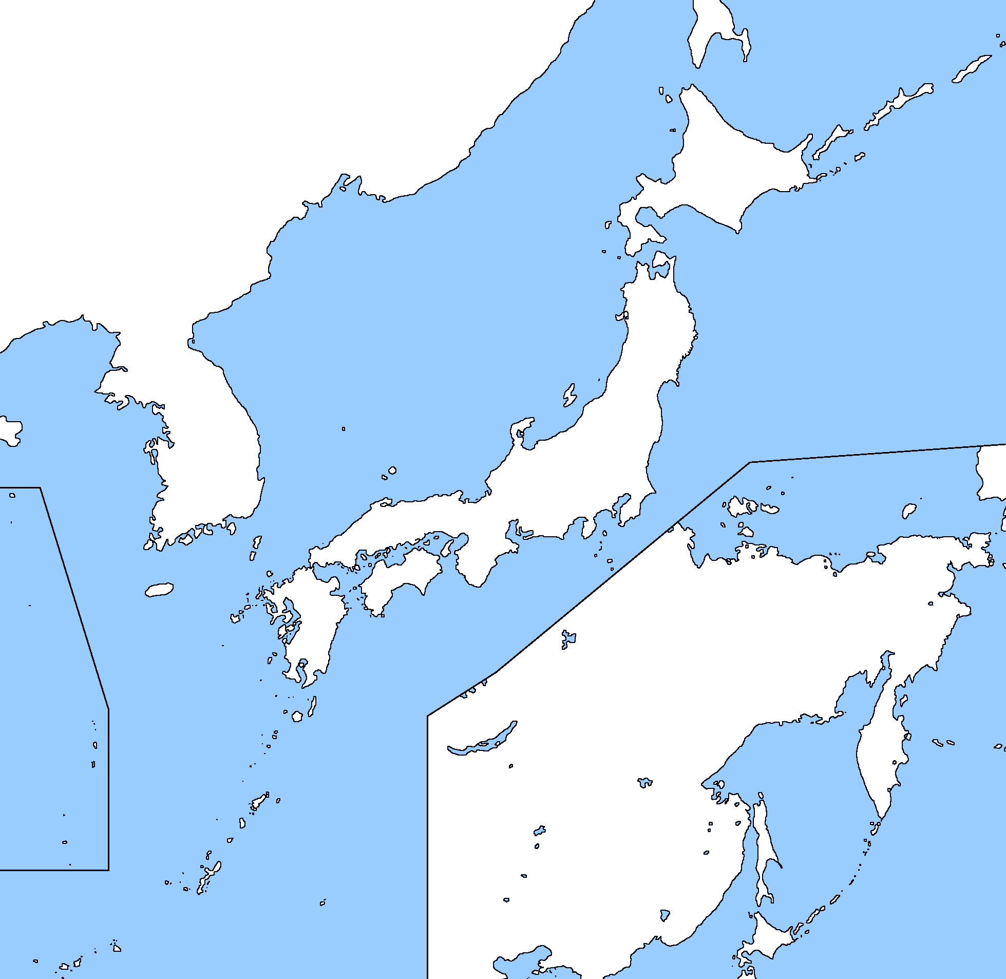 Image Blank Map Of Japan And Korea Including Russian Far East - Blank map of russia