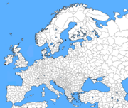 Blank Map of Europe with regions