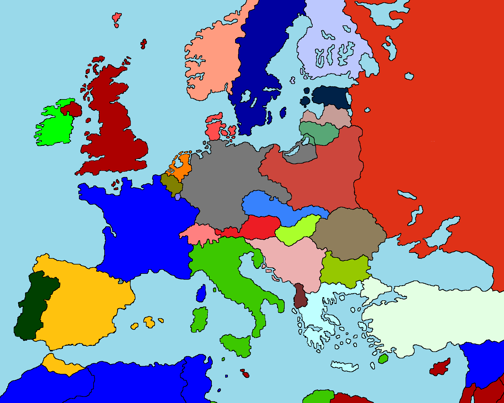 Image Drawn Colored Blank Map Of Europe Png - Unlabelled map