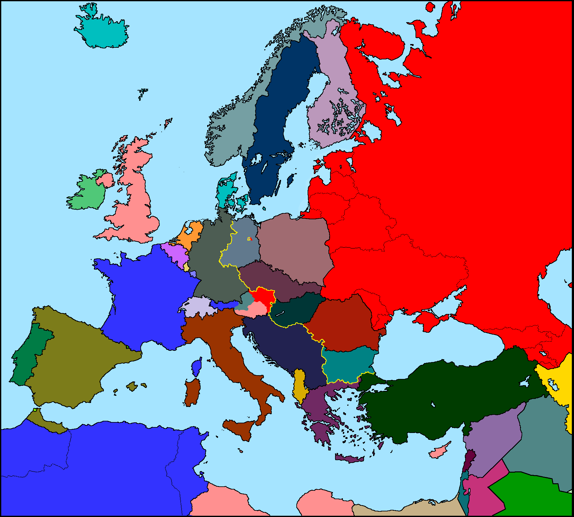 Image   Map of Europe in 1950.png | TheFutureOfEuropes Wiki