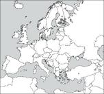 Blank Europe map without Kosovo and Liechtenstein