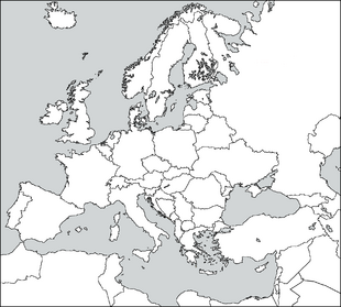 Blank Europe map without Kosovo and Liechtenstein