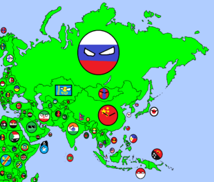 Map of Asia in Countryballs
