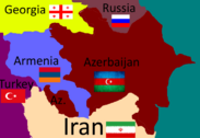 Flag map of the Azerbaijan Armenia area