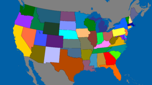 USA Continental Map Colored