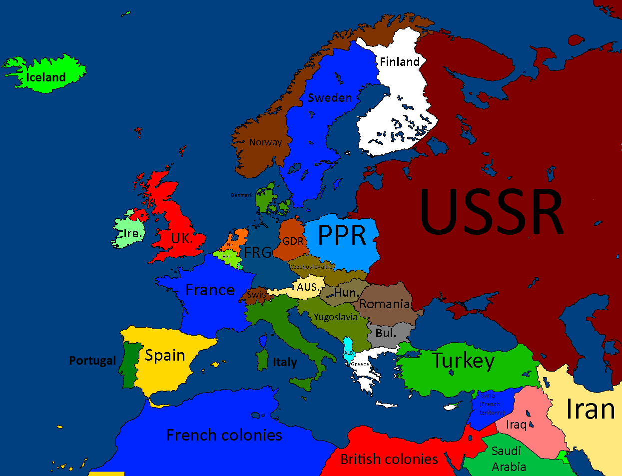 Image   Europe 1950 Cold war.png | TheFutureOfEuropes Wiki