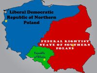 Map of Poland after the 2nd Polish Civil War