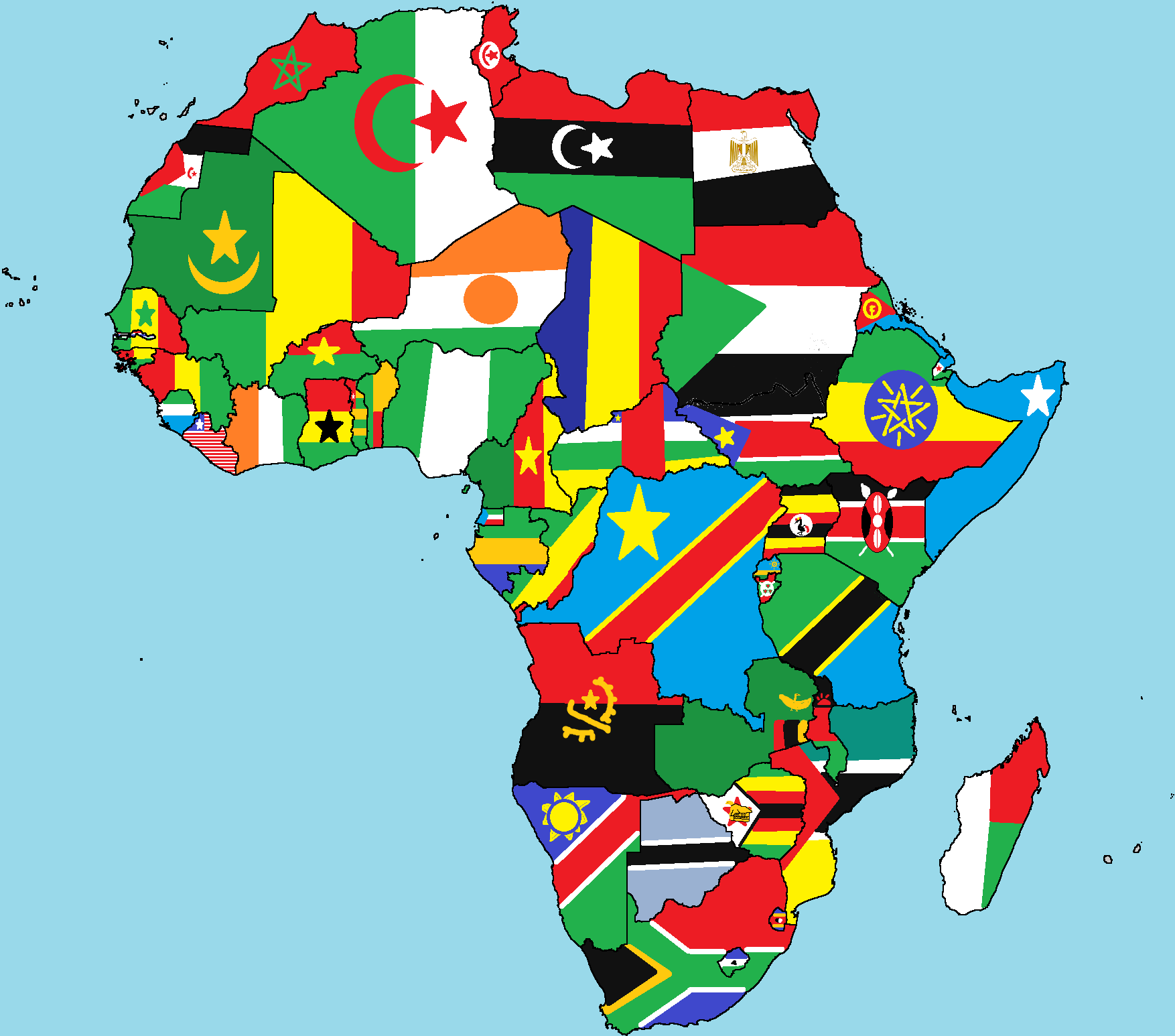 africa map of flags