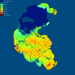 Temperature of Pangea Winter