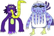 Pud'n and Irwin as Tentacled Monsters