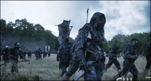 Wanheda (part 2) - Bellamy dressed as a Grounder