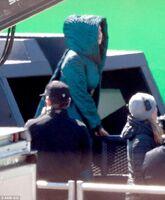 Jen on set of Mj -7