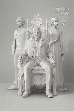 Presidente Snow, Johanna Mason y Peeta Mellark