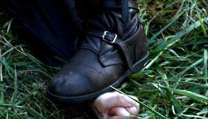 Нога Мирты на руке Китнисс