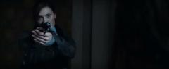 Jackson apuntando a Katniss