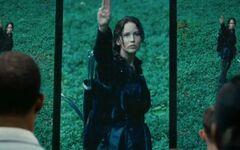 Katniss haciendo el signo de respeto