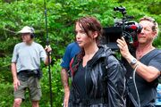Jennifer Lawrence on Hunger Games set