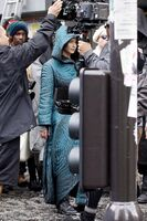 Jen on set of Mj HQ