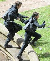 Gale and katniss running