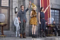 Peeta, Effie y Katniss en la cosecha