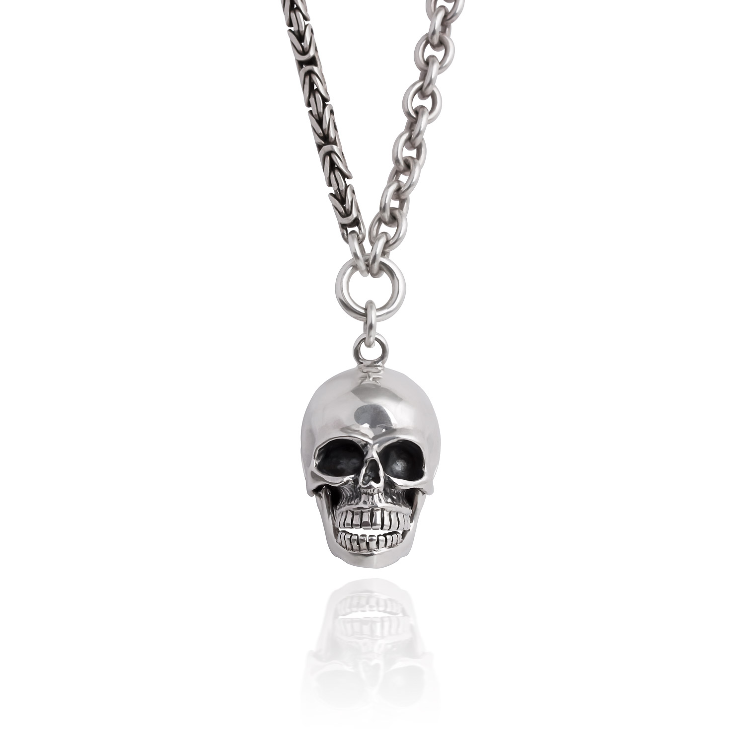 gold artisan skull lg m plated side yg curb necklace silver product large up yellow pendants