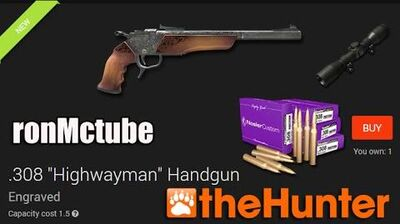 TheHunter .308 Highwayman Handgun engraved