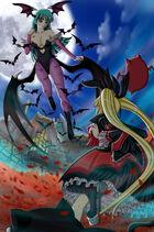 Rachel vs morrigan by artemisumi-d3alnqt
