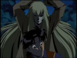 Hajime Kindaichi Attacked by White Hair Demon (Anime)