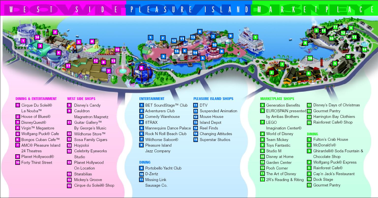 Downtown Disney Map Image   Disney world downtown disney map. | The KingdomKeepers  Downtown Disney Map