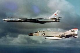 McDonnell F-4B VF-114 Phantom intercepting Tupolev Tu-16 1963