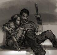 Art conceptuel initial entre Joel et Ellie